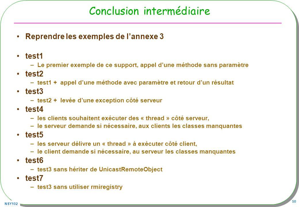 NSY102 50 Conclusion intermédiaire Reprendre les exemples de lannexe 3 test1 –Le premier exemple de ce support, appel dune méthode sans paramètre test