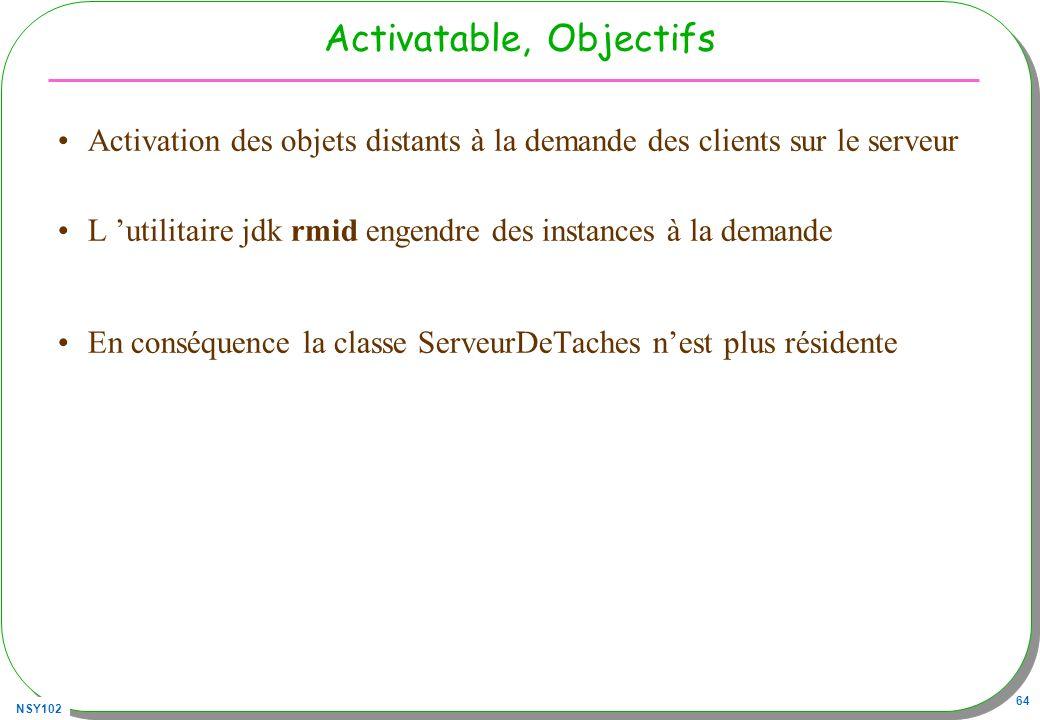 NSY102 64 Activatable, Objectifs Activation des objets distants à la demande des clients sur le serveur L utilitaire jdk rmid engendre des instances à