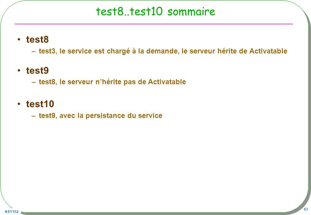 NSY102 83 test8..test10 sommaire test8 –test3, le service est chargé à la demande, le serveur hérite de Activatable test9 –test8, le serveur nhérite p