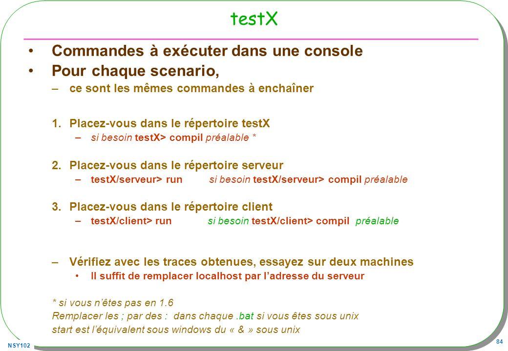 NSY102 84 testX Commandes à exécuter dans une console Pour chaque scenario, –ce sont les mêmes commandes à enchaîner 1.Placez-vous dans le répertoire