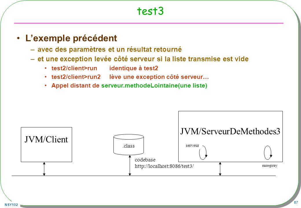 NSY102 87 test3 Lexemple précédent –avec des paramètres et un résultat retourné –et une exception levée côté serveur si la liste transmise est vide te