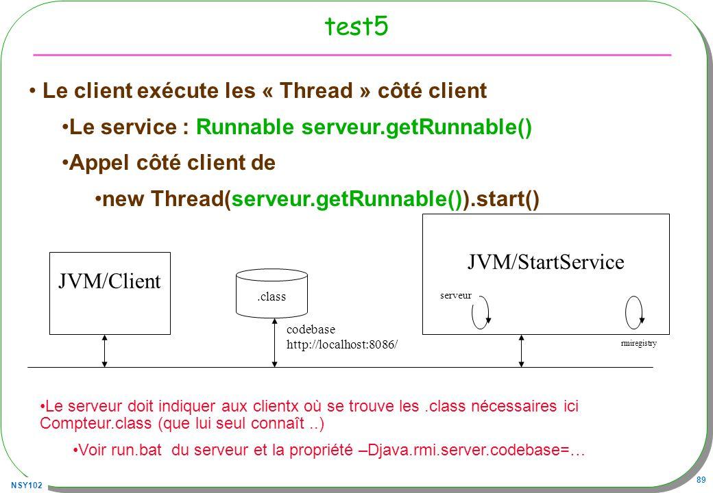 NSY102 89 test5 JVM/Client JVM/StartService.class codebase http://localhost:8086/ rmiregistry serveur Le client exécute les « Thread » côté client Le