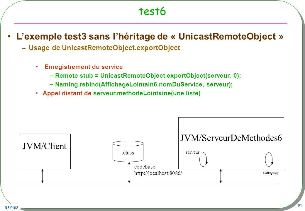 NSY102 91 test6 Lexemple test3 sans lhéritage de « UnicastRemoteObject » –Usage de UnicastRemoteObject.exportObject Enregistrement du service –Remote