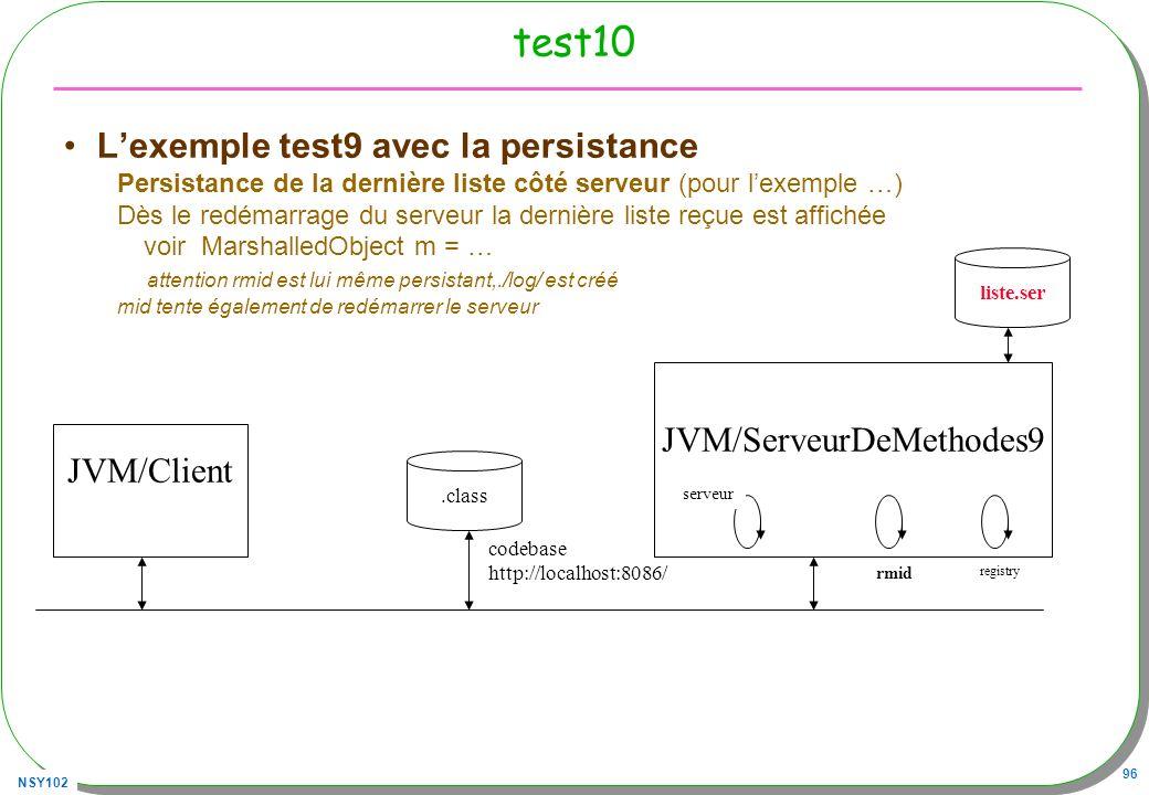 NSY102 96 test10 Lexemple test9 avec la persistance Persistance de la dernière liste côté serveur (pour lexemple …) Dès le redémarrage du serveur la d