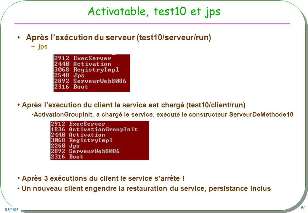 NSY102 97 Activatable, test10 et jps Après lexécution du serveur (test10/serveur/run) –jps Après lexécution du client le service est chargé (test10/cl