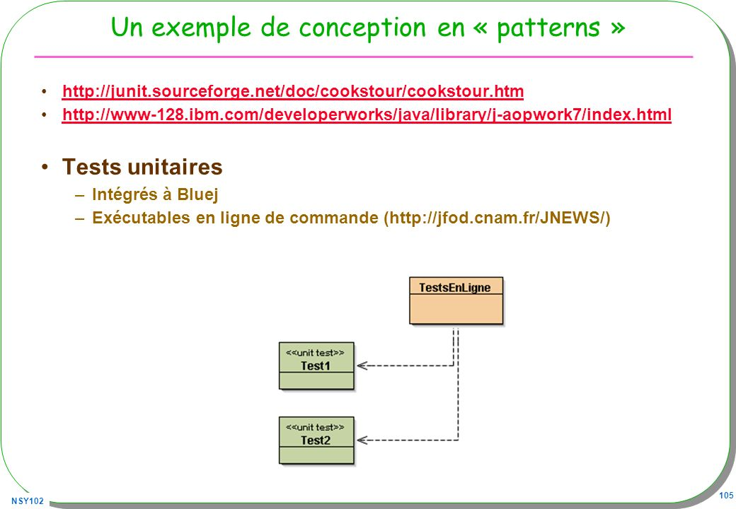 NSY102 105 Un exemple de conception en « patterns » http://junit.sourceforge.net/doc/cookstour/cookstour.htm http://www-128.ibm.com/developerworks/java/library/j-aopwork7/index.html Tests unitaires –Intégrés à Bluej –Exécutables en ligne de commande (http://jfod.cnam.fr/JNEWS/)