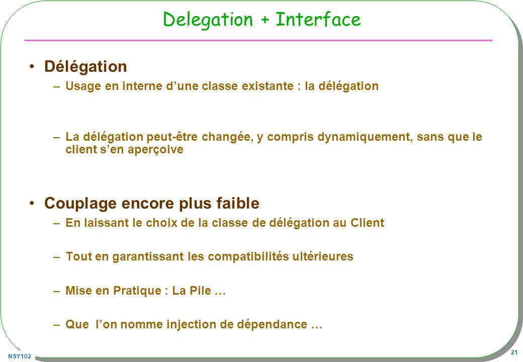 NSY102 21 Delegation + Interface Délégation –Usage en interne dune classe existante : la délégation –La délégation peut-être changée, y compris dynamiquement, sans que le client sen aperçoive Couplage encore plus faible –En laissant le choix de la classe de délégation au Client –Tout en garantissant les compatibilités ultérieures –Mise en Pratique : La Pile … –Que lon nomme injection de dépendance …
