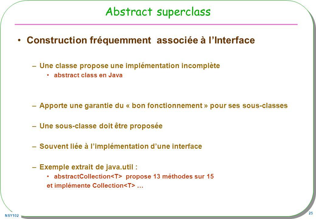 NSY102 25 Abstract superclass Construction fréquemment associée à lInterface –Une classe propose une implémentation incomplète abstract class en Java –Apporte une garantie du « bon fonctionnement » pour ses sous-classes –Une sous-classe doit être proposée –Souvent liée à limplémentation dune interface –Exemple extrait de java.util : abstractCollection propose 13 méthodes sur 15 et implémente Collection …