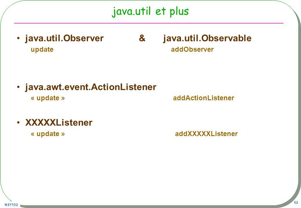 NSY102 62 java.util et plus java.util.Observer & java.util.Observable update addObserver java.awt.event.ActionListener « update » addActionListener XXXXXListener « update » addXXXXXListener