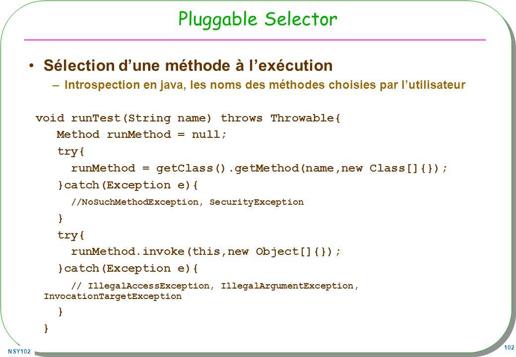NSY102 102 Pluggable Selector Sélection dune méthode à lexécution –Introspection en java, les noms des méthodes choisies par lutilisateur void runTest