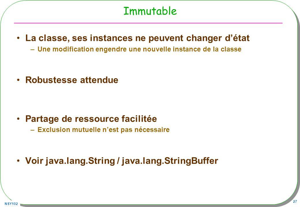 NSY102 27 Immutable La classe, ses instances ne peuvent changer détat –Une modification engendre une nouvelle instance de la classe Robustesse attendu
