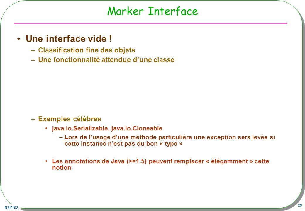 NSY102 29 Marker Interface Une interface vide ! –Classification fine des objets –Une fonctionnalité attendue dune classe –Exemples célèbres java.io.Se