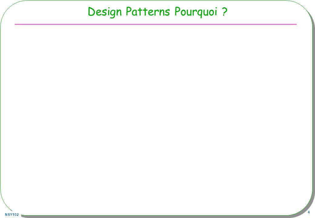 NSY102 5 Patrons/Patterns pour le logiciel Origine C.