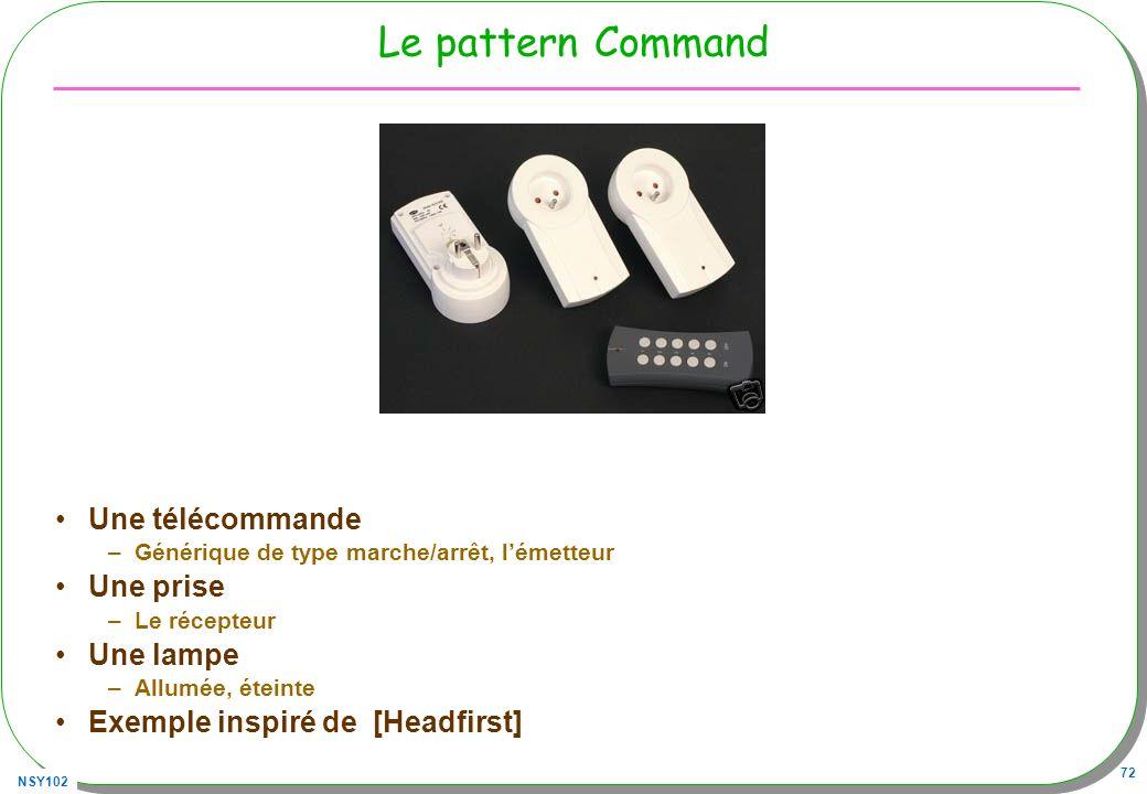 NSY102 72 Le pattern Command Une télécommande –Générique de type marche/arrêt, lémetteur Une prise –Le récepteur Une lampe –Allumée, éteinte Exemple i