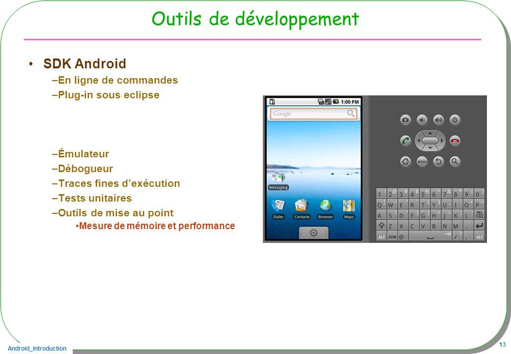 Android_Introduction 13 Outils de développement SDK Android –En ligne de commandes –Plug-in sous eclipse –Émulateur –Débogueur –Traces fines dexécutio