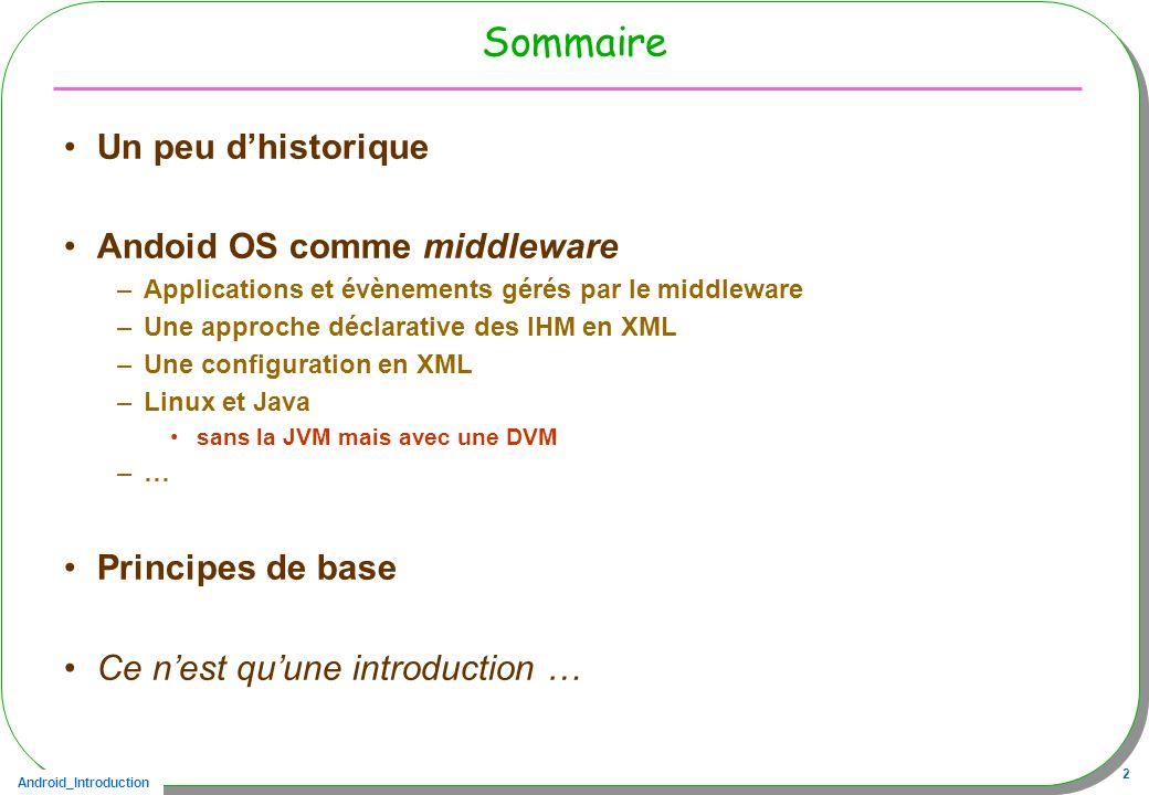 Android_Introduction 2 Sommaire Un peu dhistorique Andoid OS comme middleware –Applications et évènements gérés par le middleware –Une approche déclar