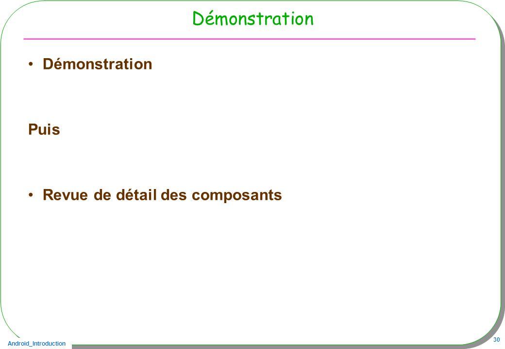 Android_Introduction 30 Démonstration Puis Revue de détail des composants