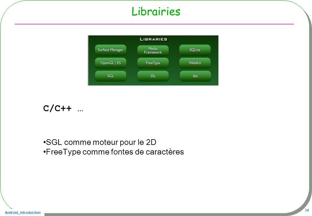 Android_Introduction 34 Librairies C/C++ … SGL comme moteur pour le 2D FreeType comme fontes de caractères