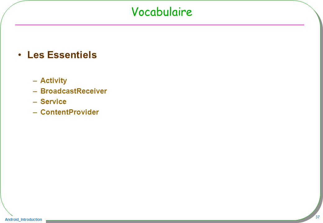 Android_Introduction 37 Vocabulaire Les Essentiels –Activity –BroadcastReceiver –Service –ContentProvider