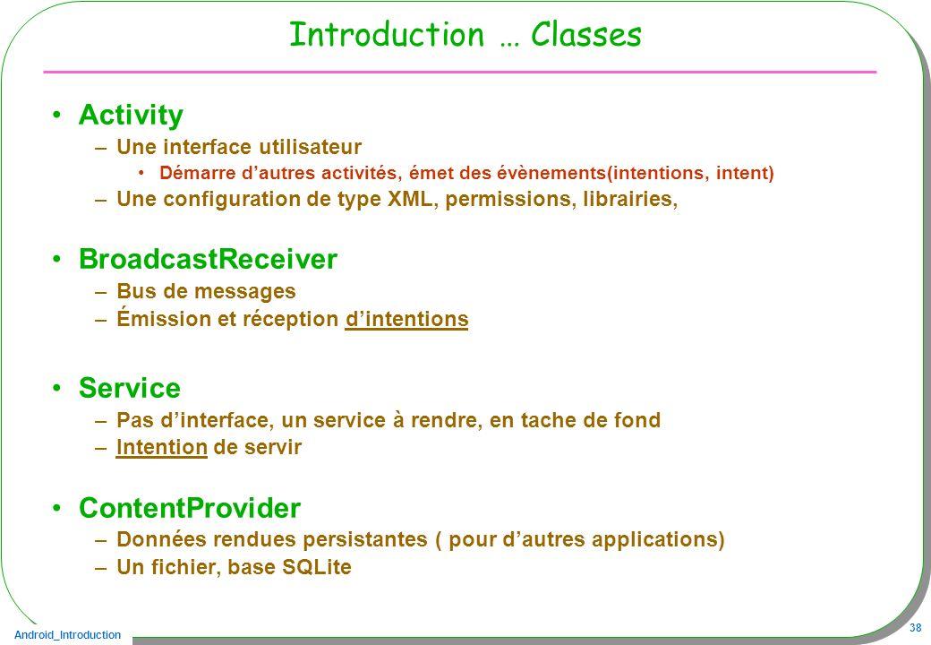 Android_Introduction 38 Introduction … Classes Activity –Une interface utilisateur Démarre dautres activités, émet des évènements(intentions, intent)