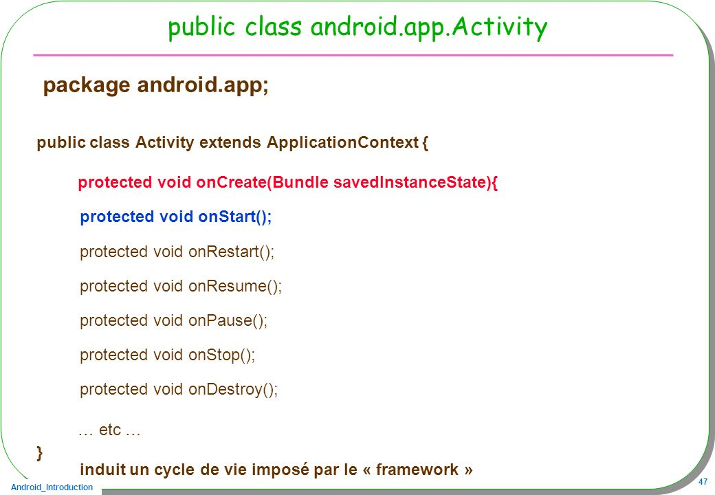 Android_Introduction 47 public class android.app.Activity package android.app; public class Activity extends ApplicationContext { protected void onCre