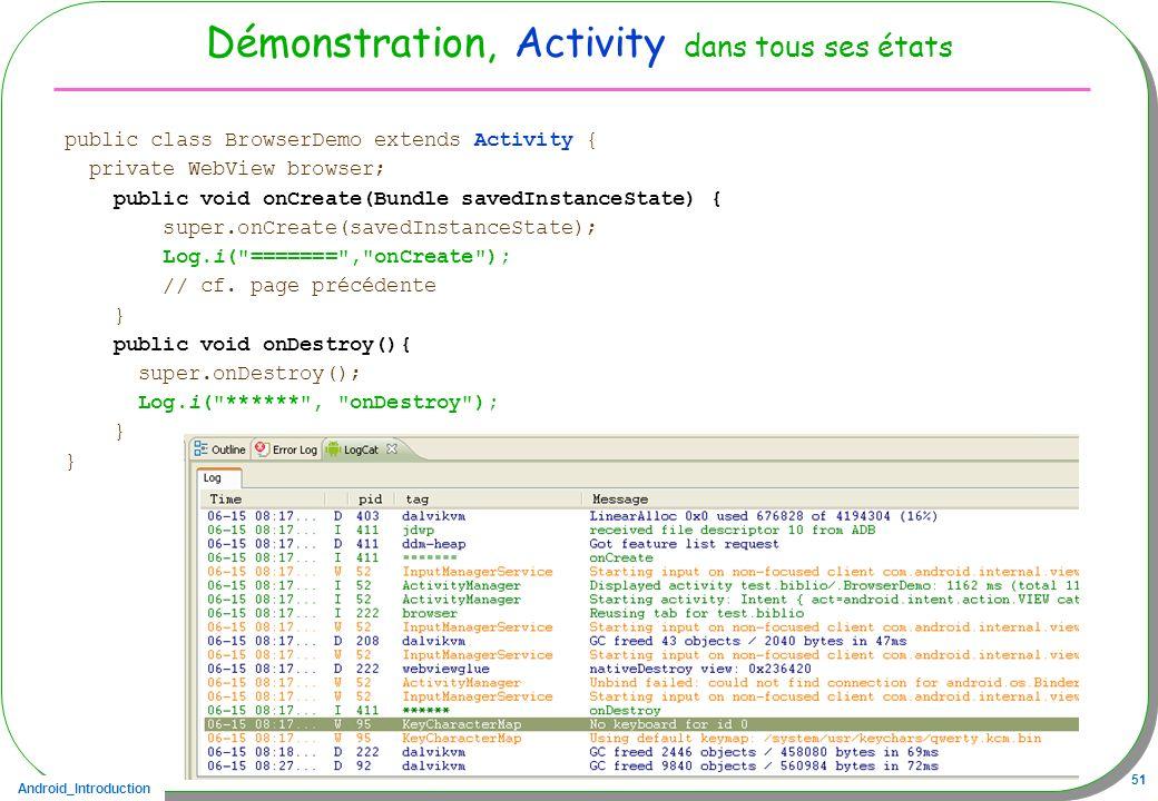 Android_Introduction 51 Démonstration, Activity dans tous ses états public class BrowserDemo extends Activity { private WebView browser; public void o