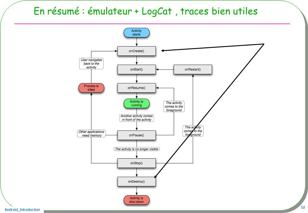Android_Introduction 52 En résumé : émulateur + LogCat, traces bien utiles