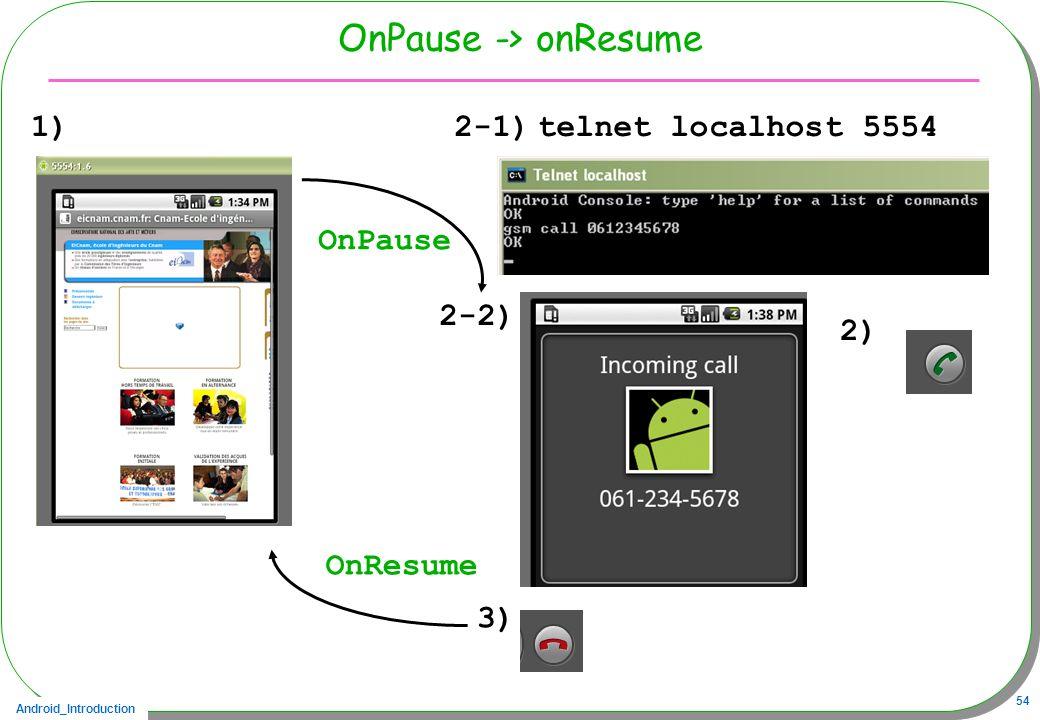 Android_Introduction 54 OnPause -> onResume 1)telnet localhost 5554 2-2) 3) 2-1) OnPause OnResume 2)