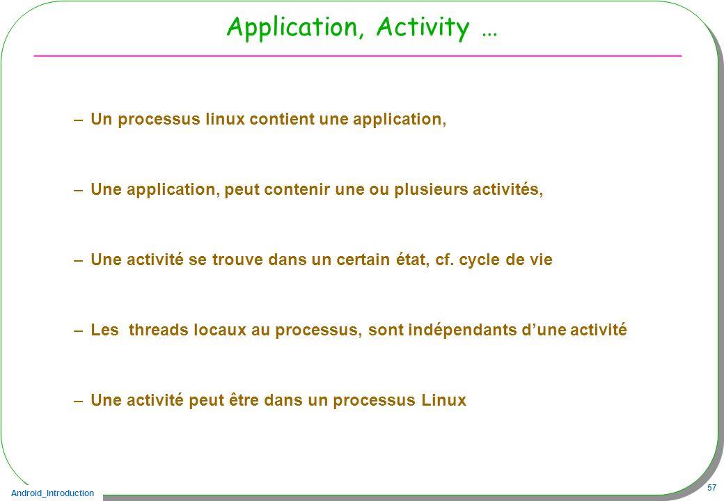 Android_Introduction 57 Application, Activity … –Un processus linux contient une application, –Une application, peut contenir une ou plusieurs activit