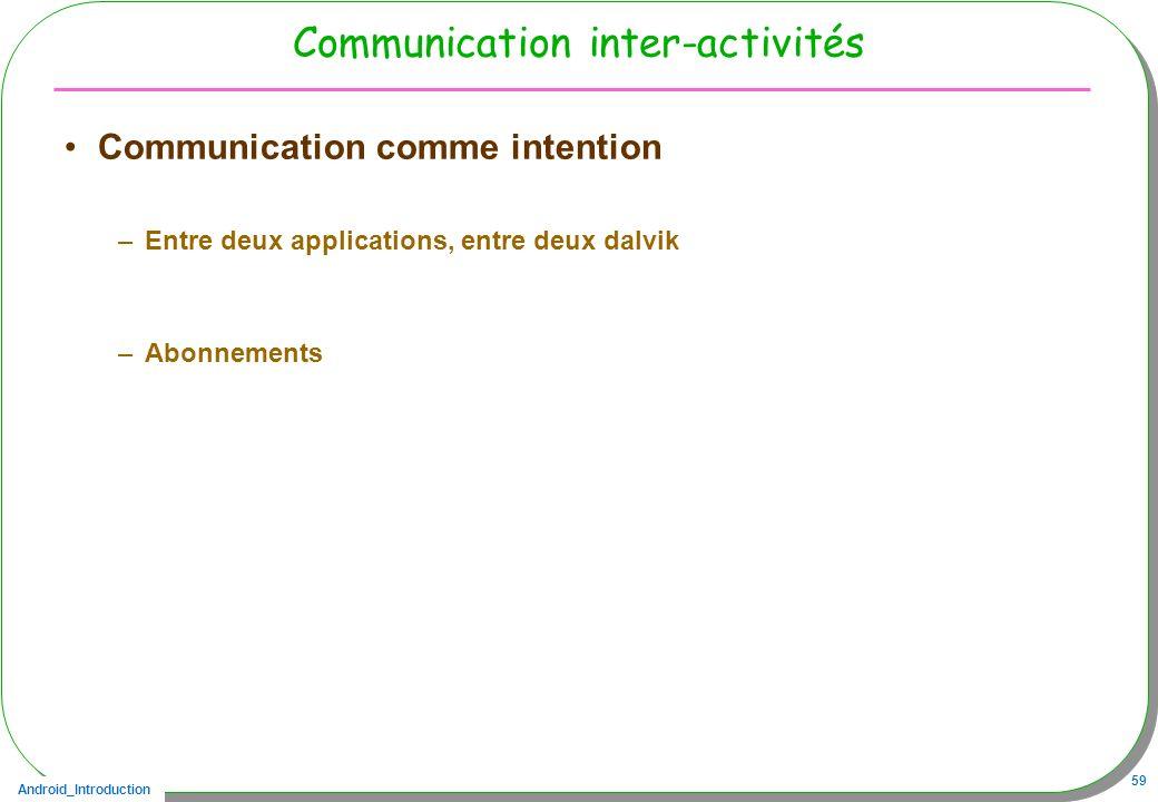 Android_Introduction 59 Communication inter-activités Communication comme intention –Entre deux applications, entre deux dalvik –Abonnements