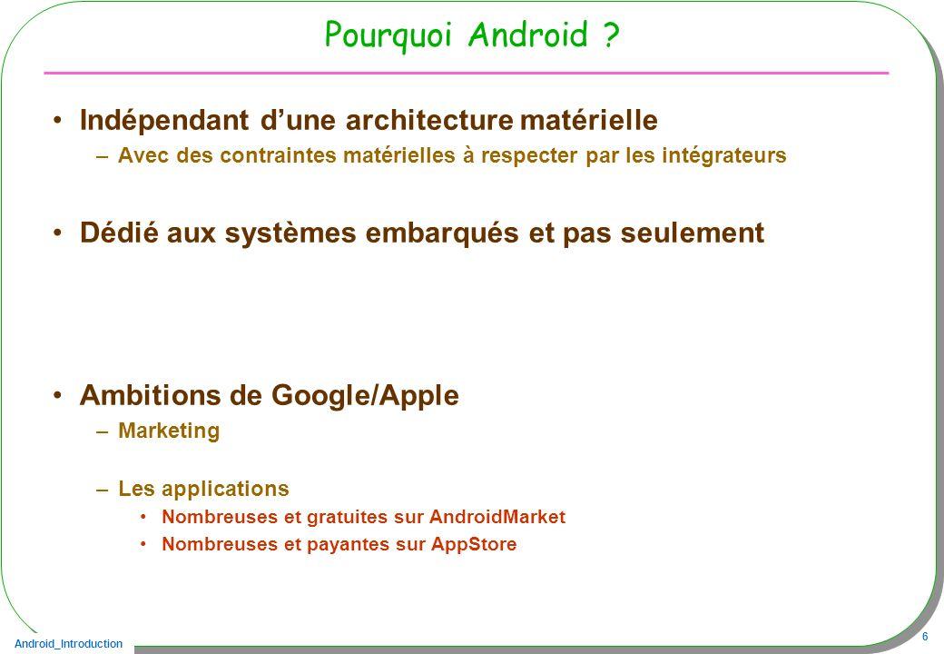 Android_Introduction 6 Pourquoi Android ? Indépendant dune architecture matérielle –Avec des contraintes matérielles à respecter par les intégrateurs