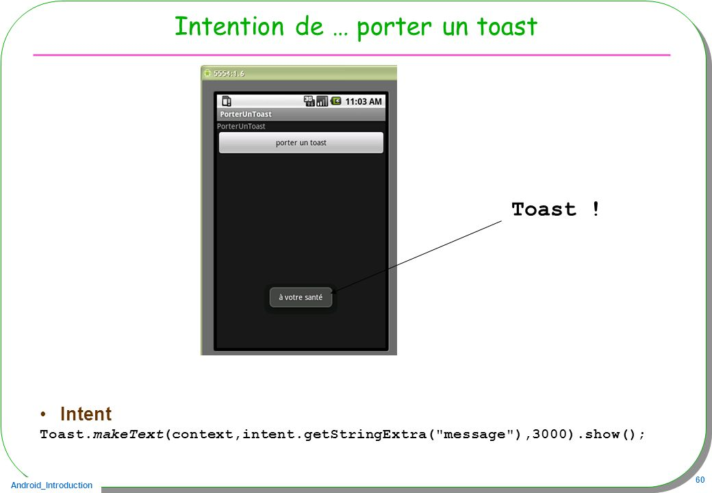 Android_Introduction 60 Intention de … porter un toast Intent Toast.makeText(context,intent.getStringExtra(