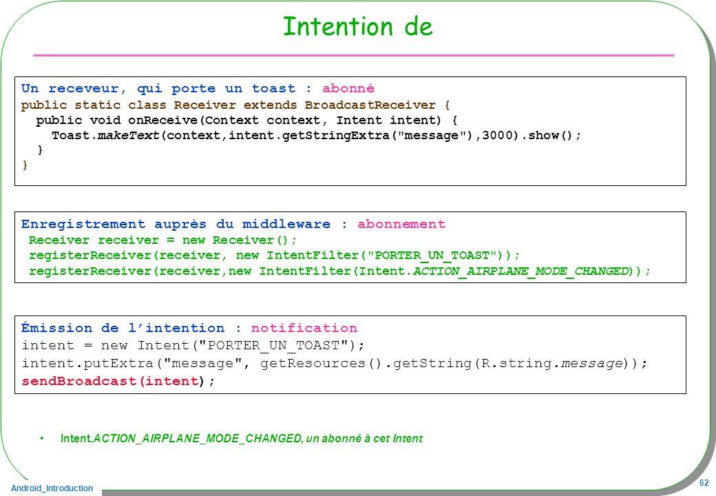 Android_Introduction 62 Intention de Intent.ACTION_AIRPLANE_MODE_CHANGED, un abonné à cet Intent Émission de lintention : notification intent = new In