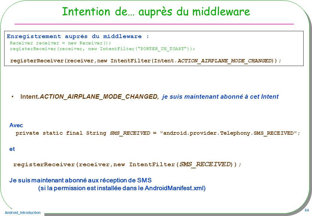 Android_Introduction 64 Intention de… auprès du middleware Intent.ACTION_AIRPLANE_MODE_CHANGED, je suis maintenant abonné à cet Intent Enregistrement