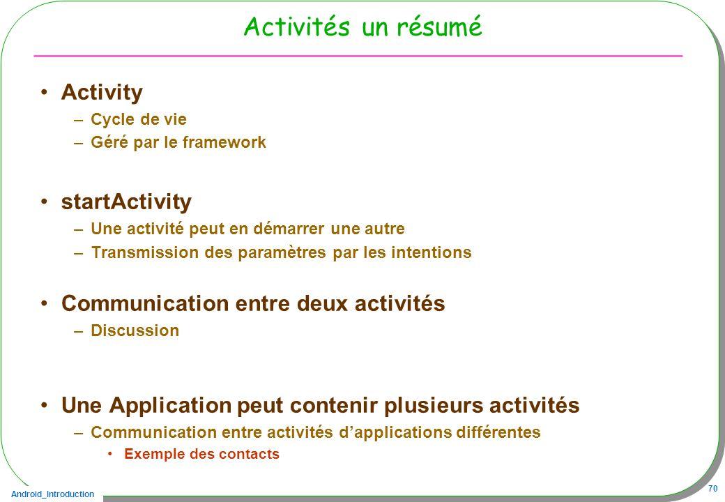Android_Introduction 70 Activités un résumé Activity –Cycle de vie –Géré par le framework startActivity –Une activité peut en démarrer une autre –Tran