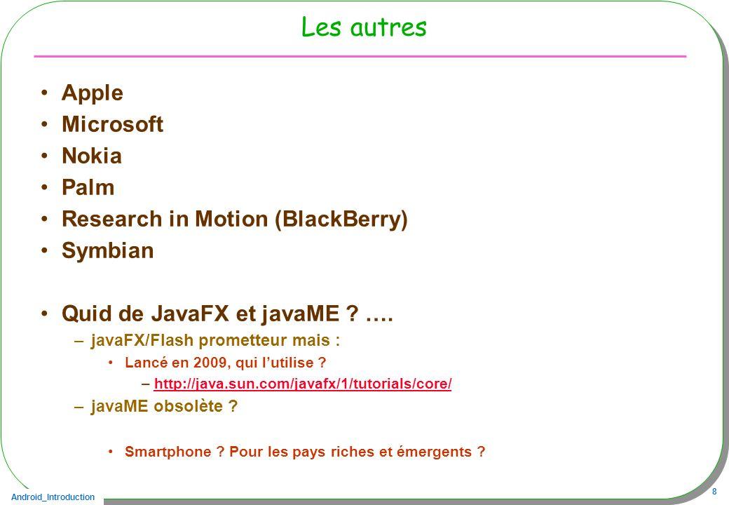 Android_Introduction 8 Les autres Apple Microsoft Nokia Palm Research in Motion (BlackBerry) Symbian Quid de JavaFX et javaME ? …. –javaFX/Flash prome