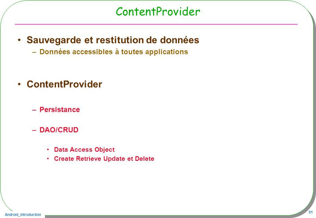 Android_Introduction 81 ContentProvider Sauvegarde et restitution de données –Données accessibles à toutes applications ContentProvider –Persistance –