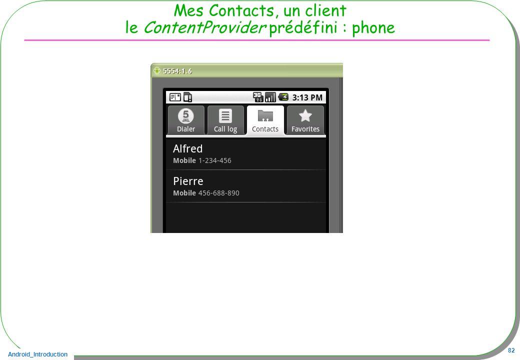 Android_Introduction 82 Mes Contacts, un client le ContentProvider prédéfini : phone