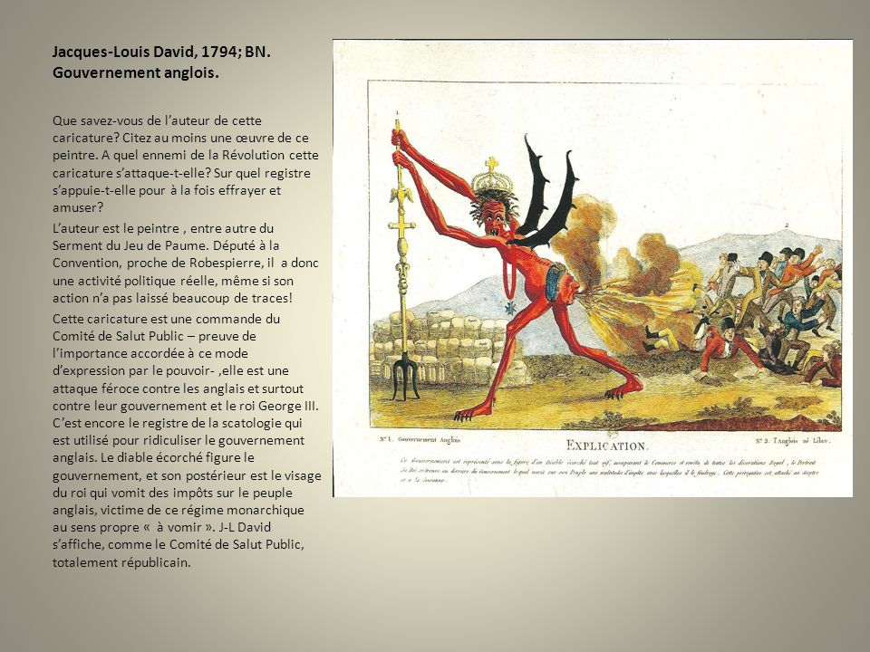 Jacques-Louis David, 1794; BN. Gouvernement anglois. Que savez-vous de lauteur de cette caricature? Citez au moins une œuvre de ce peintre. A quel enn