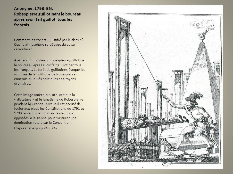 Anonyme, 1793; BN. Robespierre guillotinant le boureau après avoir fait guillot tous les français Comment le titre est-il justifié par le dessin? Quel
