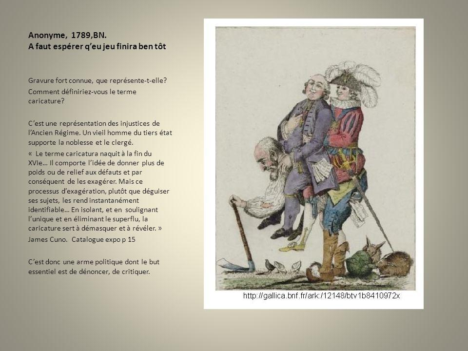 Anonyme, 1789,BN. A faut espérer qeu jeu finira ben tôt Gravure fort connue, que représente-t-elle? Comment définiriez-vous le terme caricature? Cest