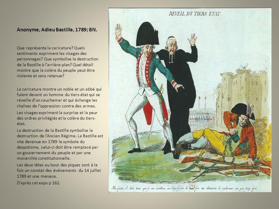 Anonyme, Adieu Bastille, 1789; BN. Que représente la caricature? Quels sentiments expriment les visages des personnages? Que symbolise la destruction