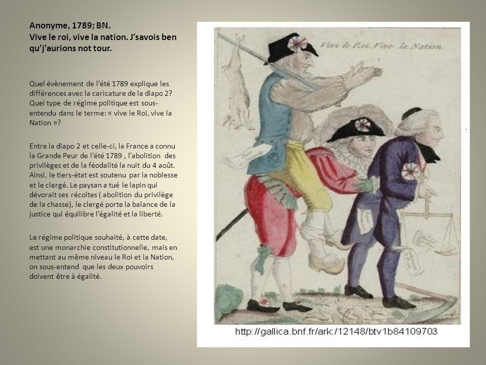Anonyme, 1789; BN. Vive le roi, vive la nation. Jsavois ben qujaurions not tour. Quel évènement de lété 1789 explique les différences avec la caricatu