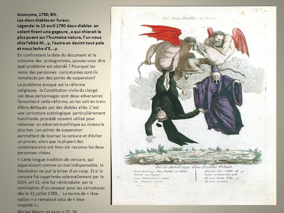 Anonyme, 1790; BN. Les deux diables en fureur. Légende: le 13 avril 1790 deux diables en volant firent une gageure, a qui chierait le plus puant sur l