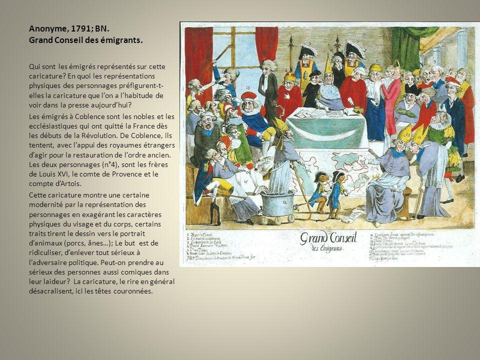 Anonyme, 1791; BN. Grand Conseil des émigrants. Qui sont les émigrés représentés sur cette caricature? En quoi les représentations physiques des perso