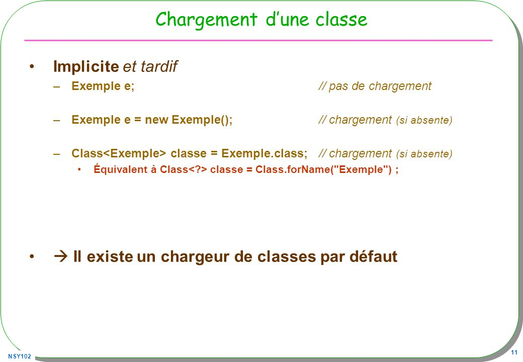 NSY102 11 Chargement dune classe Implicite et tardif –Exemple e; // pas de chargement –Exemple e = new Exemple(); // chargement (si absente) –Class cl