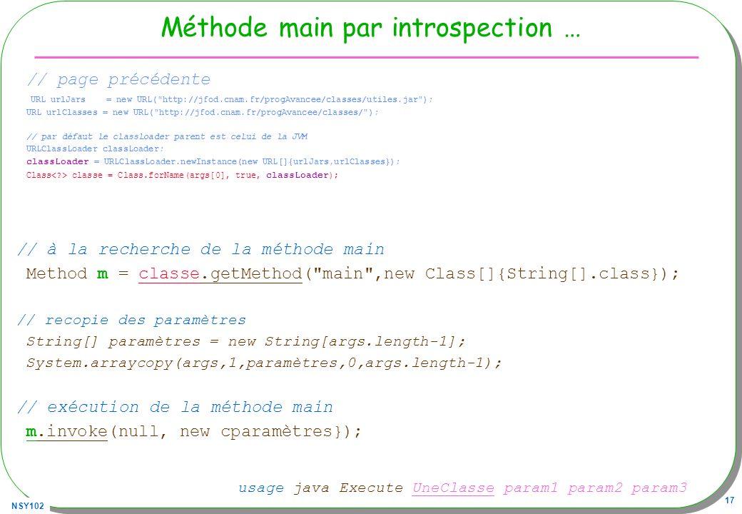 NSY102 17 Méthode main par introspection … // page précédente URL urlJars = new URL(