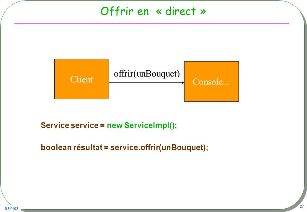 NSY102 27 Offrir en « direct » Service service = new ServiceImpl(); boolean résultat = service.offrir(unBouquet); Client Console... offrir(unBouquet)