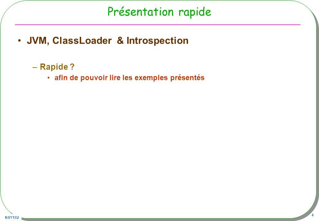 NSY102 15 URLClassLoader : un exemple Chargement distant de fichier.class et exécution de la méthode main –Depuis cette archive http://jfod.cnam.fr/progAvancee/classes/utiles.jar –Ou bien un.class à cette URL http://jfod.cnam.fr/progAvancee/classes/ 1.Création dune instance de URLClassLoader 2.Son parent est le classLoader par défaut 3.Class classe = forName(nom,init,urlClassLoader) 1.nom le nom de la classe 2.init : exécution des blocs statiques, false: retardée à la première création dinstance true : au chargement, et dans les deux cas si ceux-ci nont pas déjà été exécutés 4.Recherche de la méthode main par introspection urlClassLoader