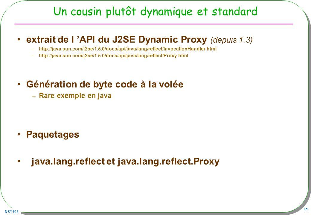 NSY102 41 Un cousin plutôt dynamique et standard extrait de l API du J2SE Dynamic Proxy (depuis 1.3) –http://java.sun.com/j2se/1.5.0/docs/api/java/lan